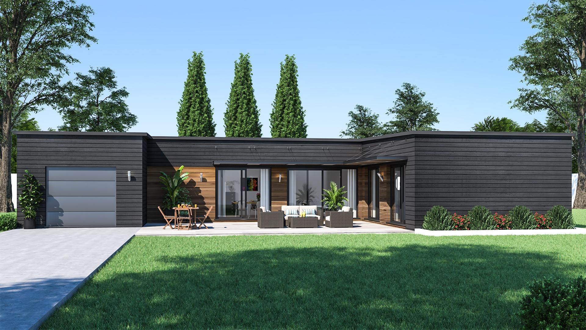Maison design de plain-pied| Maison de style Contemporain - Maisons de l'Avenir